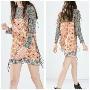 Zara shift dress with side fringes size S